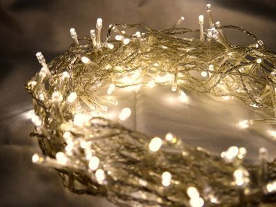 100 Warm White LED Fairy Lights, 10M-Clear Cable,Battery Operated,Static & Flash