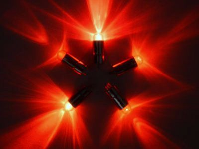 5 x Red Single Led Battery Powered Lights Waterproof