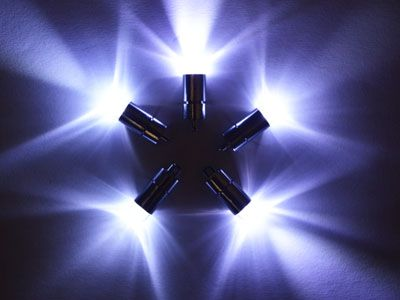 5 x White Single Led Battery Powered Lights Waterproof
