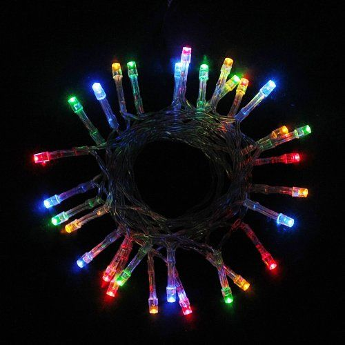 100 Multi Colour LED Fairy Lights, 10M Clear Cable,Battery Operated,Static