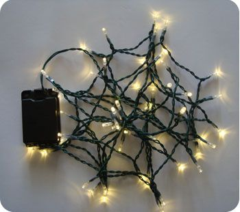 Warm White 50 LED Fairy Lights, 5M-Green Cable,Battery Operated,Indoor & Outdoor