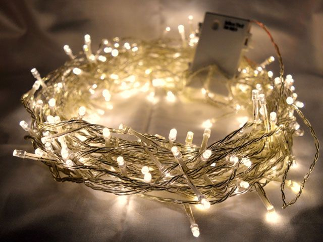 200 Warm White Led Fairy Lights 20m Clear Cable Battery