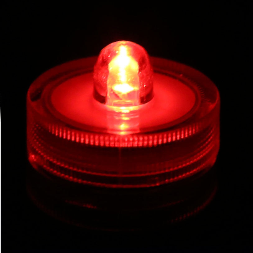 2pc Red Submersible Battery Led Tea Lights Super Led